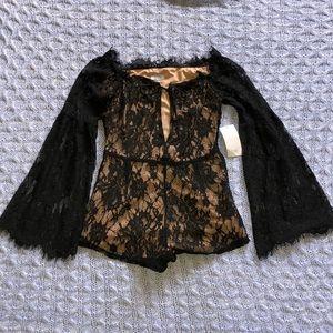 TOBI black lace romper size small